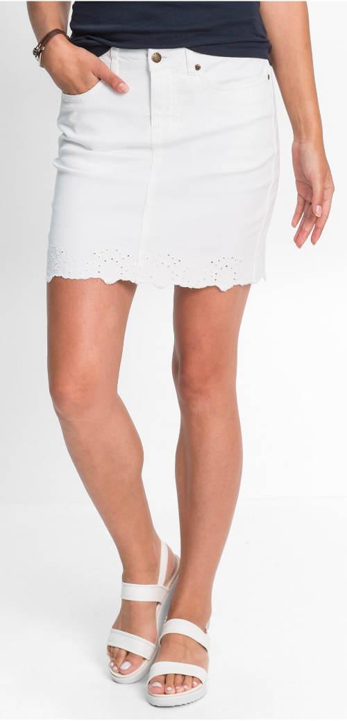 Bílá strečová džínová sukně