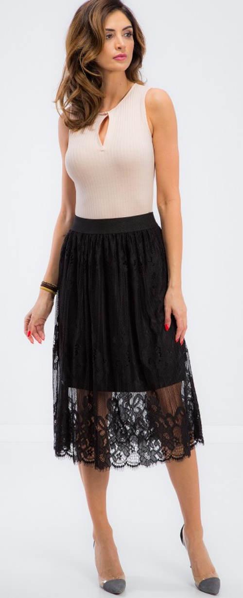 Černá krajková midi sukně