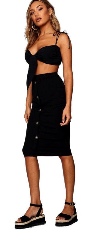 Černá riflová midi sukně s knoflíky