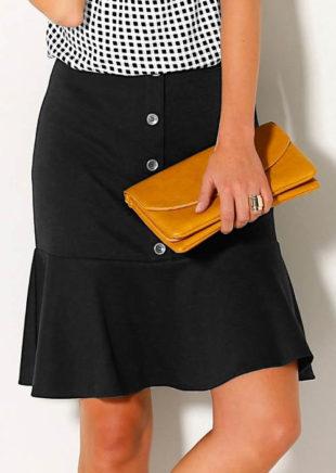 Černá volánová sukně s knoflíky