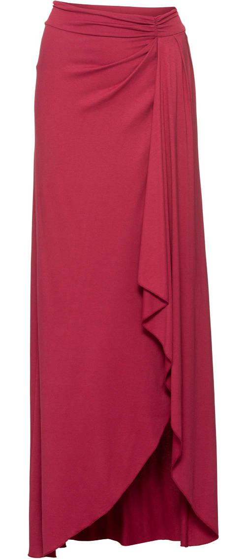 Červená dlouhá zavinovací sukně