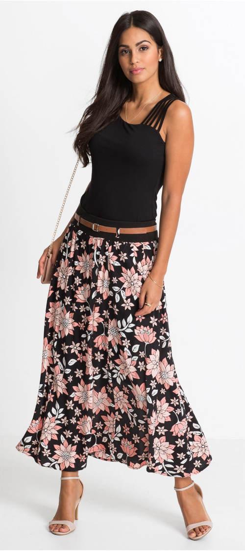 Dlouhá dámská sukně s opaskem