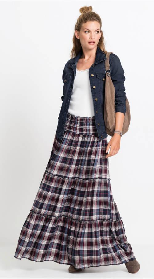 Dlouhá kostkovaná sukně s volánky