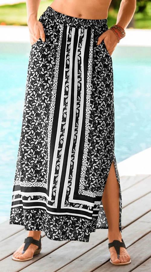 Dlouhá plážová sukně s pružným pasem