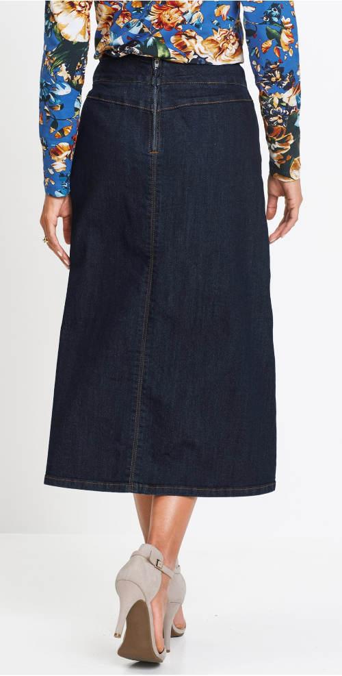 Dlouhá riflová sukně pro silnější postavy
