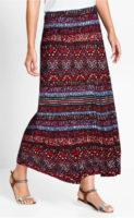 Dlouhá žerzejová sukně s etno potiskem