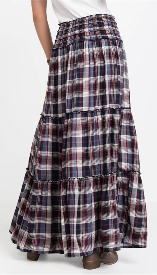 Kostkovaná dámská maxi sukně