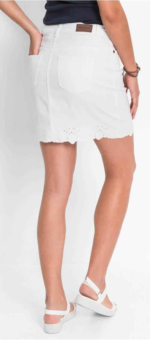 Krátká bílá riflová sukně