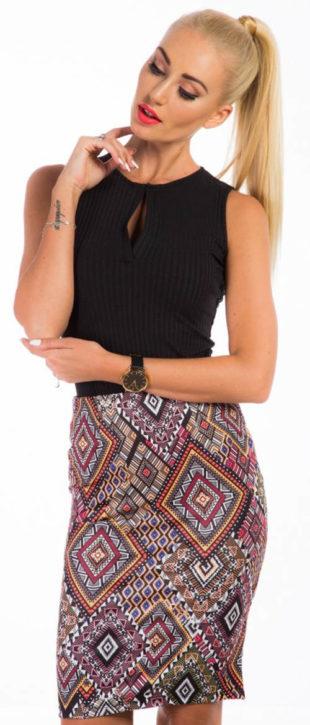 Midi sukně s etno vzory 65eeeba537