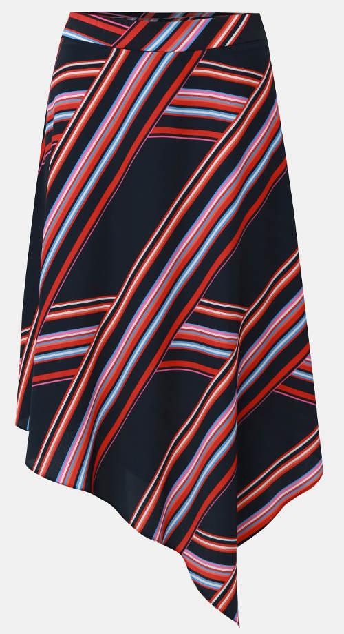 Pruhovaná asymetrická sukně do půlky lýtek