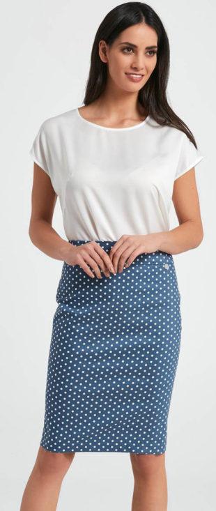 Puntíkovaná modrá pouzdrová sukně