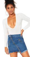 Riflová mini sukně se zipy