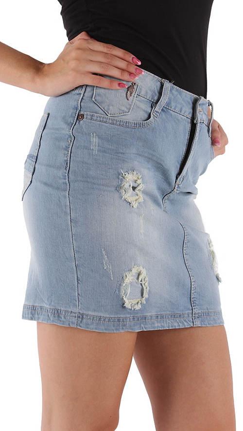 Riflová sukně v obnošeném vzhledu