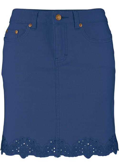 Riflová sukně s děrovanou výšivkou