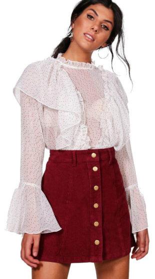 Vínová mini sukně s propínacími knoflíky