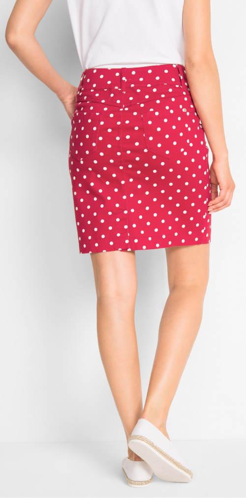 Puntíkovaná strečová sukně s lycrou 6d89721412