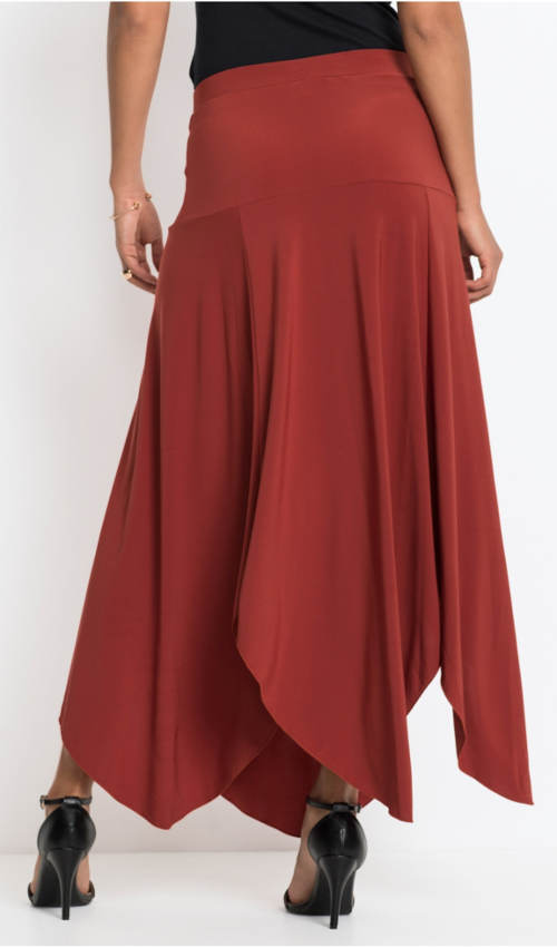 Dlouhá cihlová dámská sukně