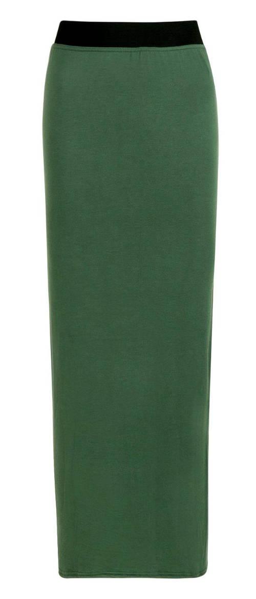 Dlouhá zelená dámská sukně