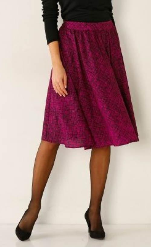 Fialová společenská sukně s gumou do pasu