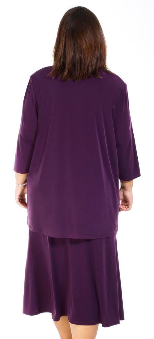 Fialová sukně pro plnoštíhlé