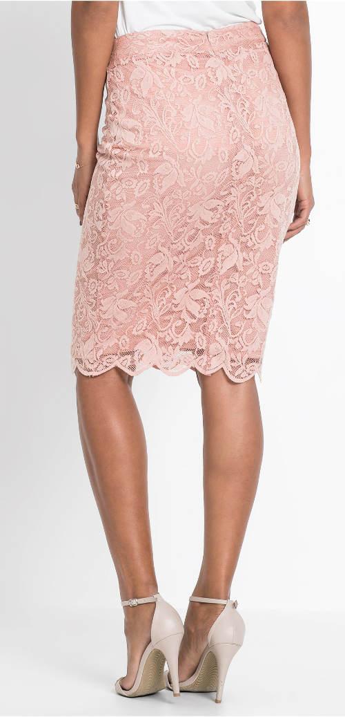 Krajková růžová vintage sukně