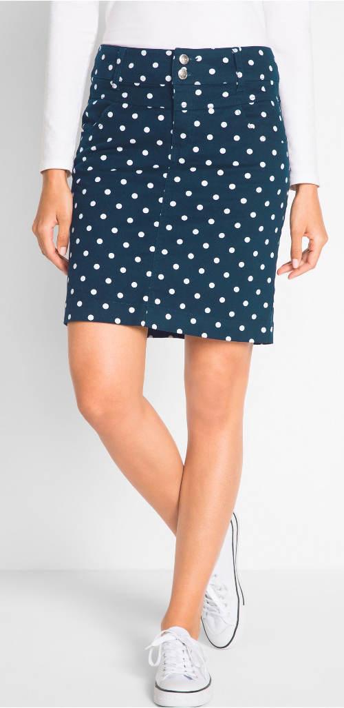Modrá puntíkovaná dámská sukně