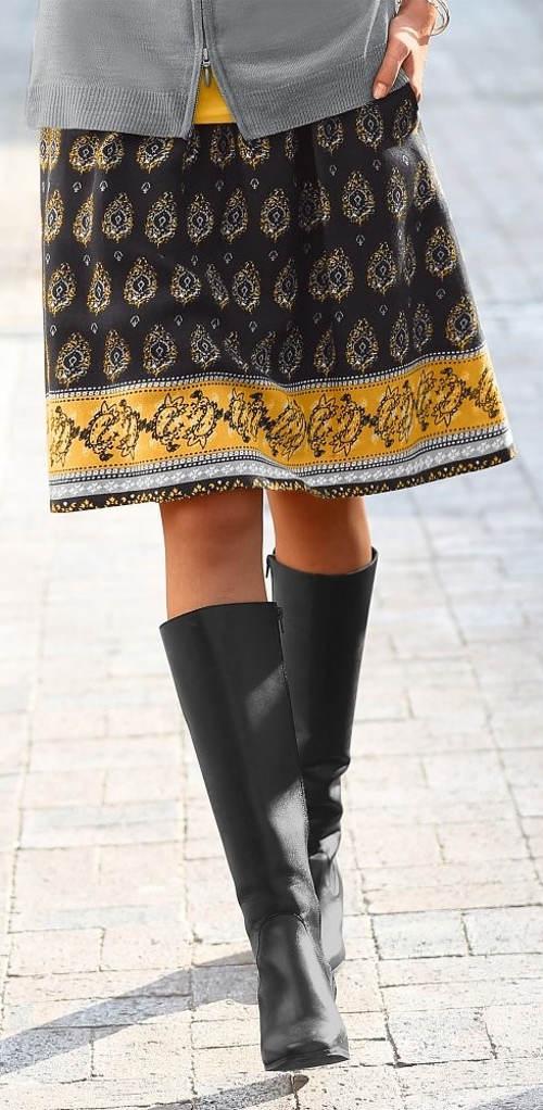 Nadýchaná podzimní sukně ke kolenům