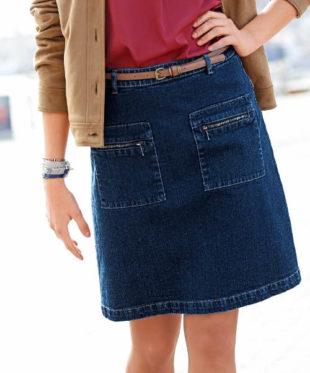 Riflová dámská sukně s kapsami na zip