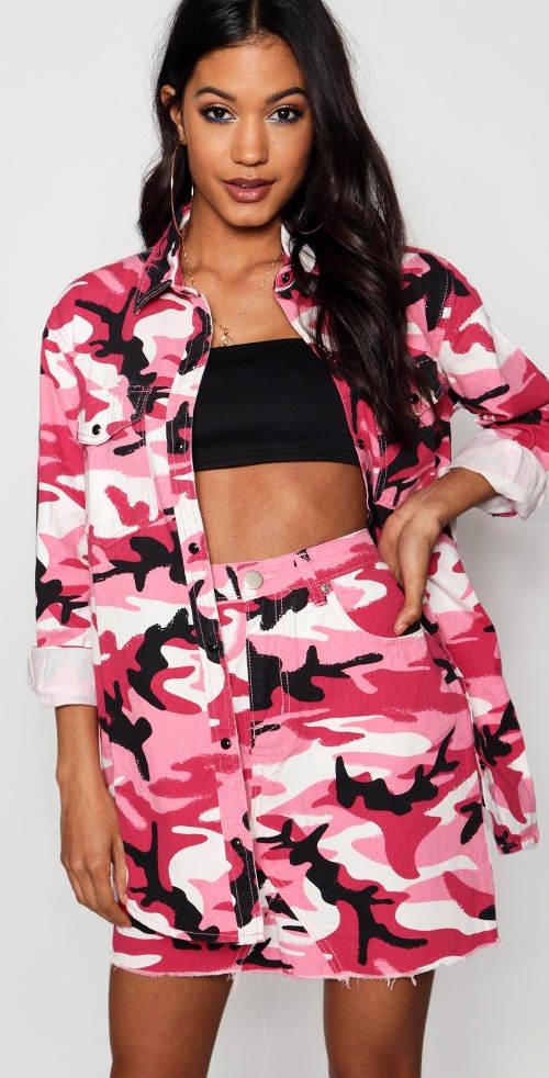 Růžová army sukně