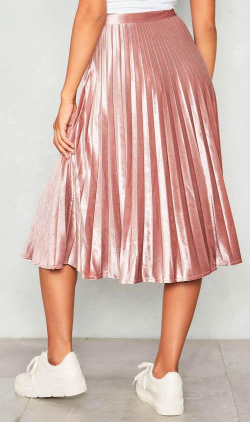 Růžová plísovaná sukně