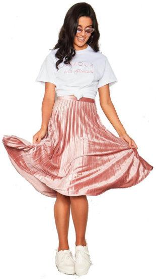 Skládaná plísovaná sametová midi sukně