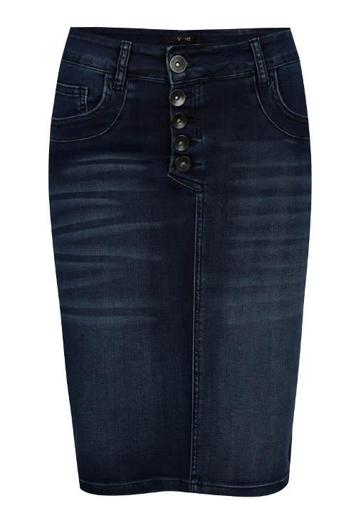 Tmavě modrá džínová midi sukně