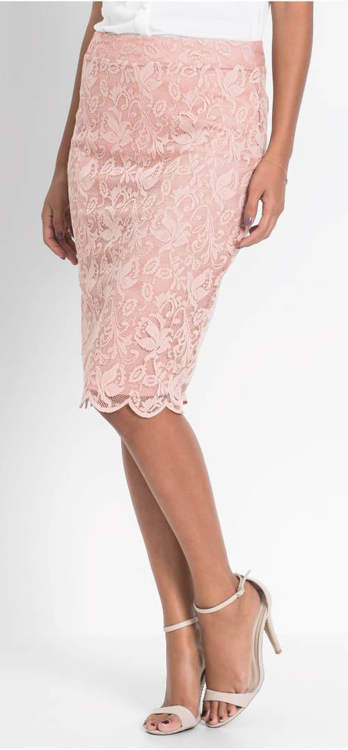 Úzká krajková midi sukně