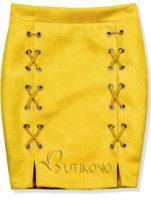 Žlutá semišová sukně s ozdobnou šněrovačkou