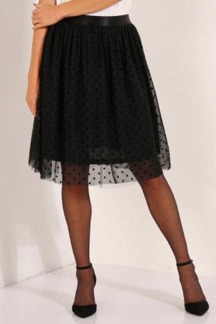 Černá nabíraná tylová sukně