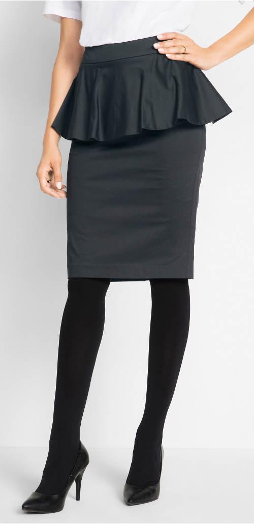 Černá sukně s volánovým kanýrem