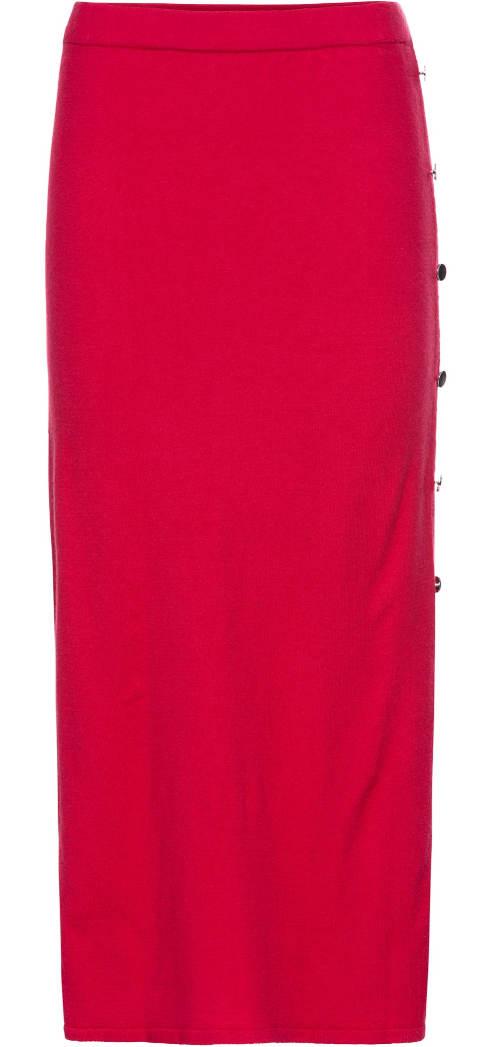 Červená úplá midi sukně