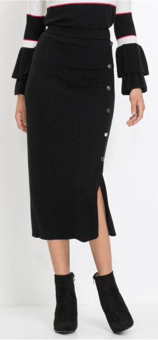 Jednobarevná pletená sukně s postranním rozparkem 31dc13135b