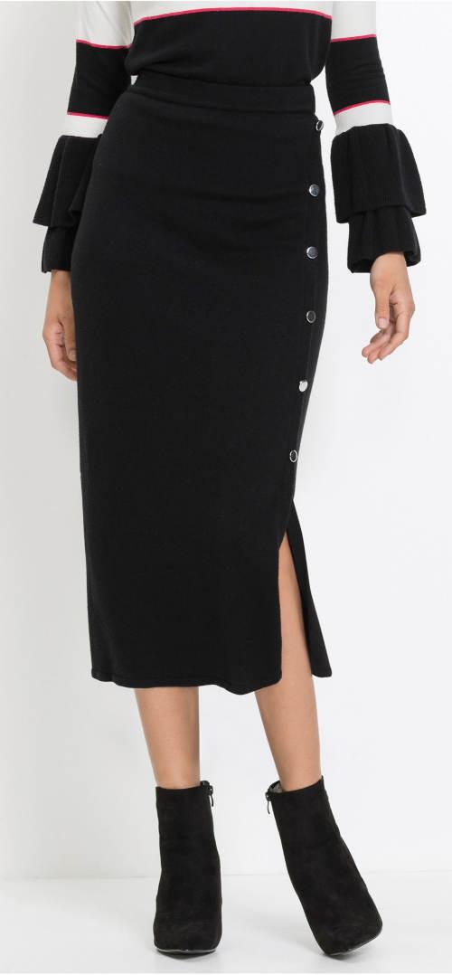 Jednobarevná pletená sukně s postranním rozparkem