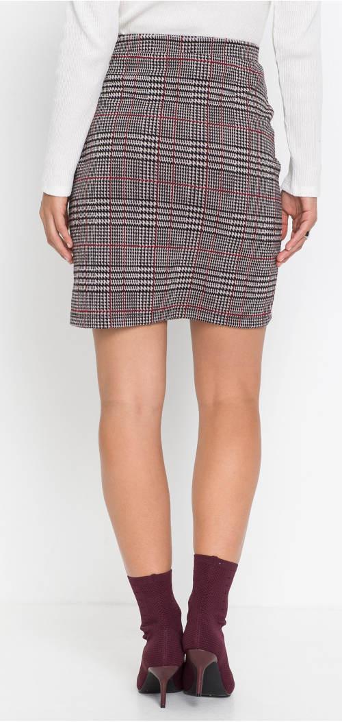 Kratší karovaná elastická sukně