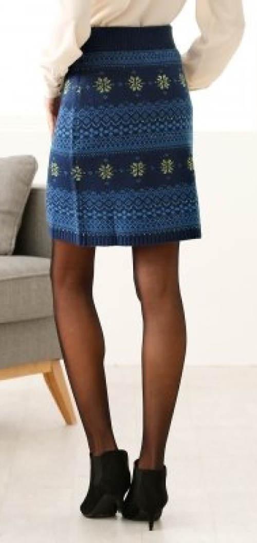 Modrá pletená dámská sukně