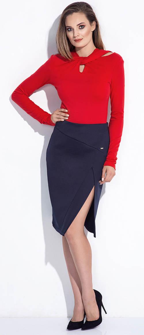 Modrá pouzdrová společenská sukně s vysokým rozparkem