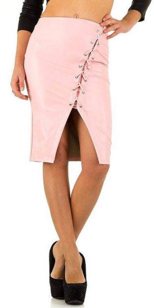 Růžová sukně se šněrováním a rozparkem v přední části