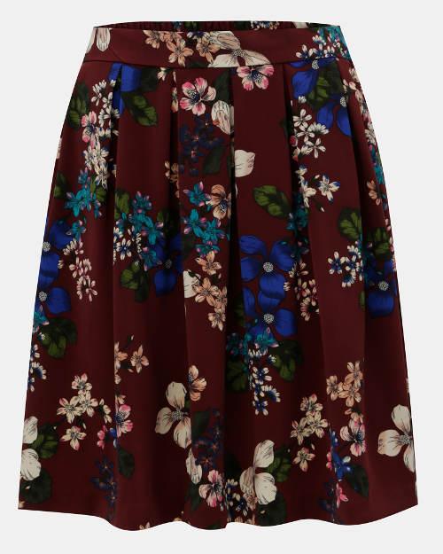 Skládaná áčková květovaná sukně
