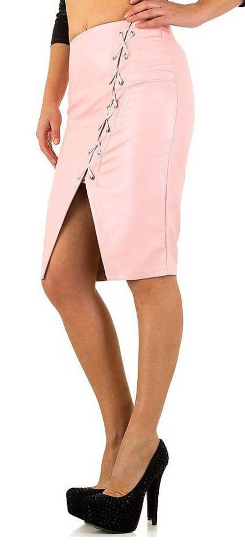 Společenská růžová sukně se šněrovačkou