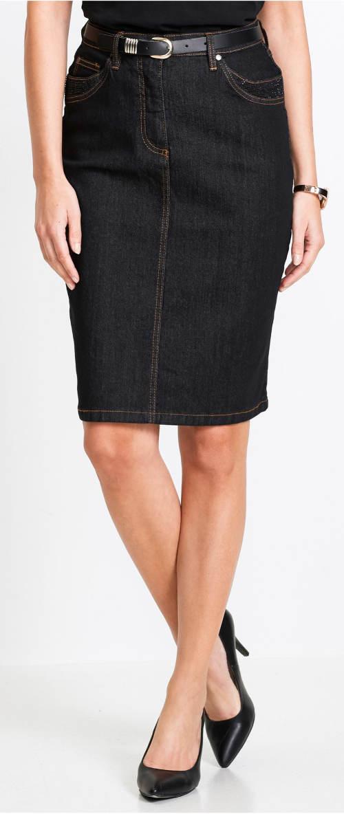 Tmavá džínová sukně se třpytivými kamínky