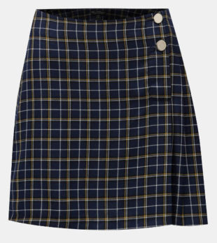 Tmavě modrá karovaná sukně s knoflíky