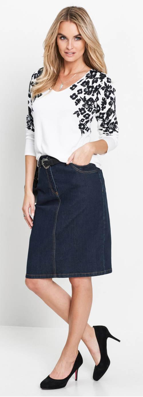 Tmavě modrá riflová sukně s páskem