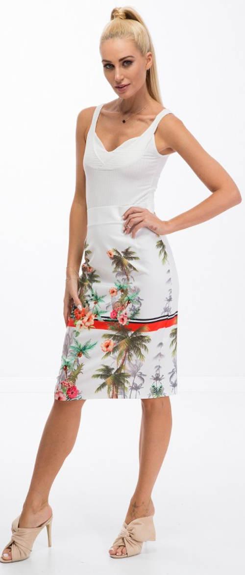 Bílá květinová letní sukně