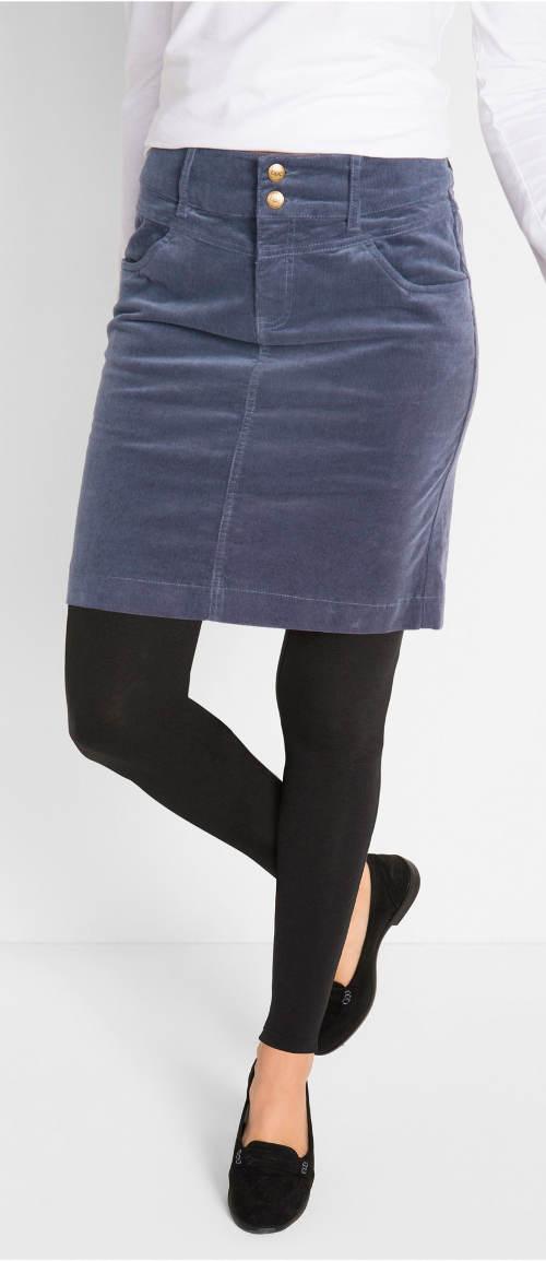 Borůvková manšestrová sukně k legínám